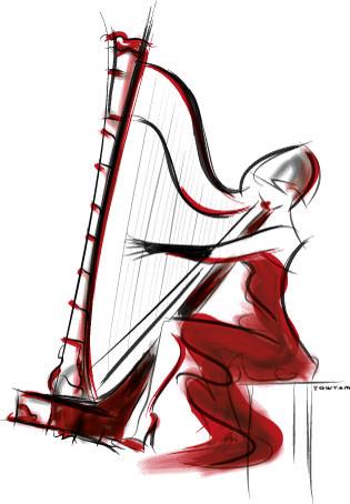 Illustration / concert harpist