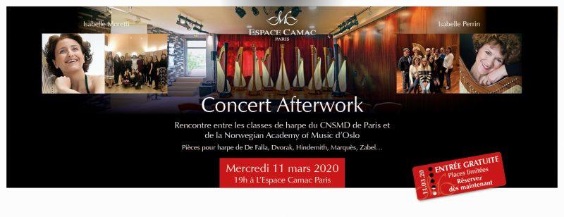Concert Afterwork à l'Espace Camac Paris : récital des classes de harpe du CNSMDP et de la Norwegian Academy of Music d'Oslo