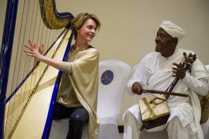 Catrin Finch and Ato Alemayehu Fanta playing their harps in Addis Ababa,