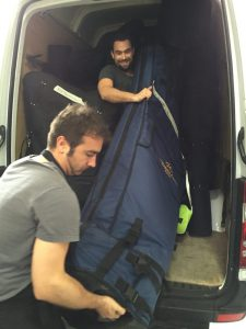 Thomas and Enric load the van