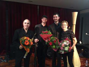 L-R: Sylvain del Campo (soprano sax), Alex Trampas (bass), Clément Cliquet (drums), Felice Pomeranz