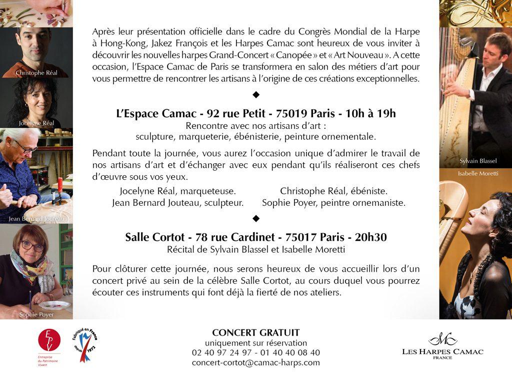 Présentation des nouvelles harpes Grand Concert, Paris
