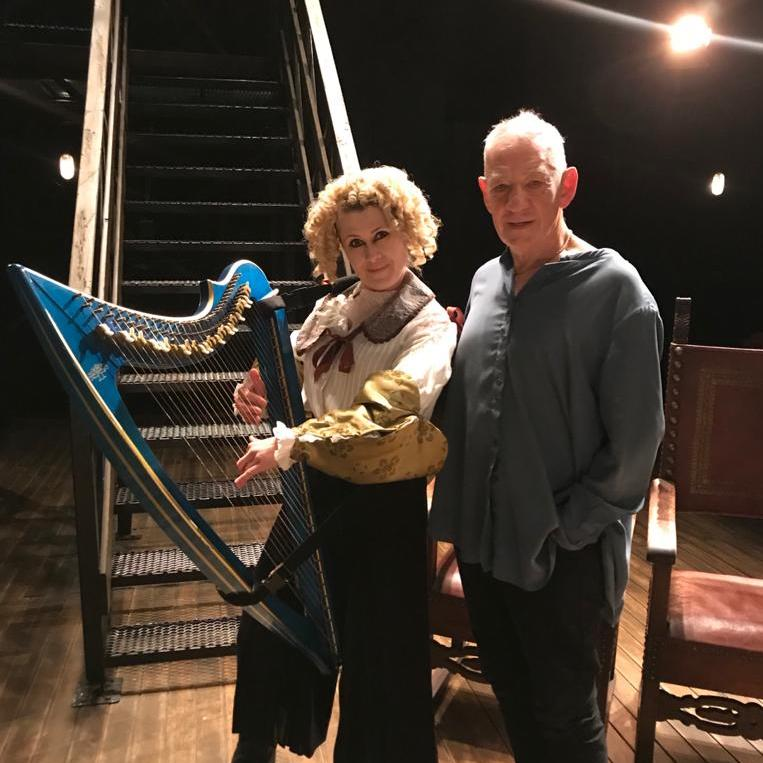 Llinos Daniel with Sir Ian McKellen and the Camac electro harp